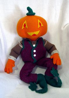 Giant Amigurumi Pumpkin Man Doll by SeaKnightsCraft on Etsy, $180.00