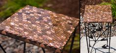 My dad and I made this penny table using the instructions in the link. I DON'T recommend using Gorilla Glue as instructed in the link (it had some sort of reaction with the pennies and expanded and bubbled) and I DO recommend you have a torch to smooth out bubbles. It's not perfect but I still love it!