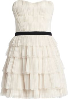 white and black ruffly dress