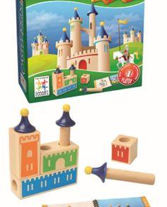 +3 años. Castle Logix. El reto es encajar las piezas de madera y las torres para construir uno de los castillos que se muestran en la ficha.