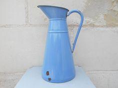 Large antique enamel water pitcher blue enamelware by Birdycoconut