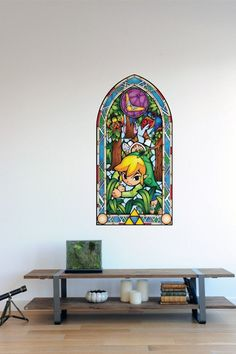 Officially licensed Nintendo 7-piece set of Wind Waker inspired 'stained glass window' wall decals.