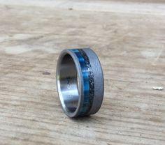 Titanium Ring Blue Box Elder and Meteorite Ring by RobandLean