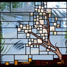 """Windswept Oak"" by Josephine A. Geiger. Leaded stained glass & copper mesh."