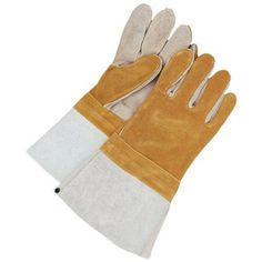 Bob Dale 60-1-1500-L Welding Split Leather Glove Gauntlet Kevlar Sewn, Large, Tan