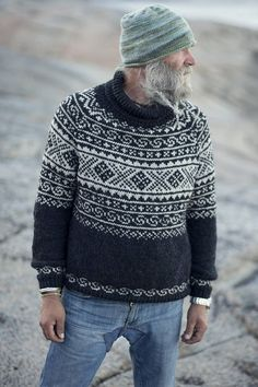 Knitted in beautiful and durable blend of 30 % alpaca and 70 % merino wool, this warm raglan sweater is inspired by traditional patterns found on old knitting in the valley of Setesdal, Norway. Fair Isle Knitting Patterns, Sweater Knitting Patterns, Mens Knit Sweater Pattern, Rowan Knitting, Sock Knitting, Knitting Sweaters, Vintage Knitting, Free Knitting, Icelandic Sweaters