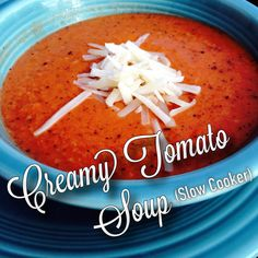 This Creamy Tomato Soup recipe is absolutely delicious, and so easy to start! Simply chop the veggies, throw them in a slow-cooker with your canned tomatoes in the morning, and come home to a healthy meal at night. This recipe makes 12 servings, and freezes very well.