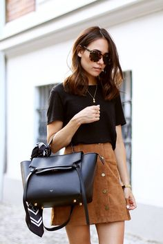 70s Look with Tan Suede Button Front Skirt and Celine Belt Bag