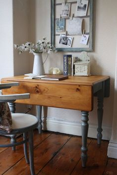 Restored Vintage Drop Leaf Table with Turned Legs in Duck Egg Blue