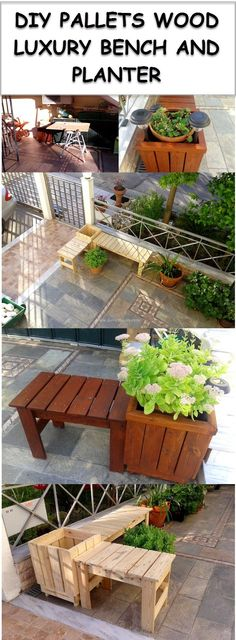 PALLET WOOD PLANTER AND BENCH