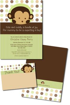 Monkey Baby Shower Invitation for Baby Boy-Krystal/Jess Kylie Baby Shower, Baby Shower Fun, Baby Shower Gender Reveal, Baby Shower Parties, Baby On The Way, Baby Love, Monkey Invitations, Baby Shower Invitaciones, Baby Shower Decorations