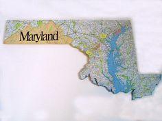 MARYLAND State Map Wall Art (X-Large size)