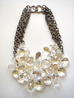 statement necklace, quartz, briolettes