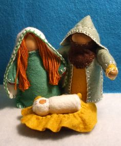 Nativity Family, Big People Wooden Peg Dolls in Green. $18.00, via Etsy.
