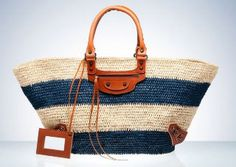 Balenciaga straw bag - with the nautical chosen colours and tan leather details would look perfect in st.tropez