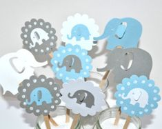 Blue Elephant Baby Shower Invitations Blue Baby by AspenJayDesigns