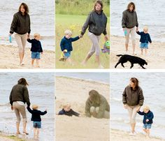 thecambridgees: Prince George celebrated the morning of his 2nd birthday at the beach with his grandmother Carole Middleton and family dog Lupo, July 22, 2015
