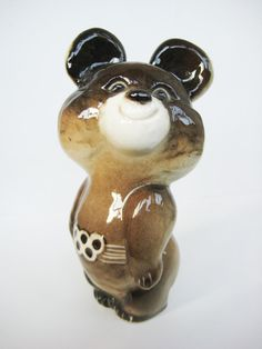 Vintage Russian Porcelain Bear Figurine 1980 Olympic Games Moscow. $24.00, via Etsy.