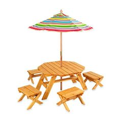 Octagon Table & 4-Stool Set With Umbrella - BedBathandBeyond.com