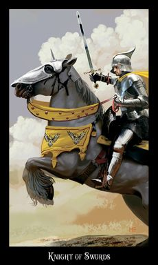 """Knight of Swords-If we had to sum up this court card in two words, they would be """"no fear."""" When this card comes roaring into a reading, expect excitement, movement, and adventure. There is a need for action, and it is time for you to dive in and be the hero"""