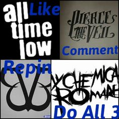 I like all of these bands! ATL and MCR are my faves, BVB is my least favorite but i still like them