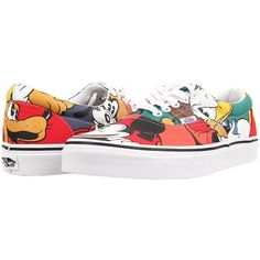 Vans Disney Era ((Disney) Mickey & Friends/Multi) Skate Shoes ($36) ❤ liked on Polyvore featuring shoes, multi, flexible shoes, grip shoes, traction shoes, slim shoes and vans shoes