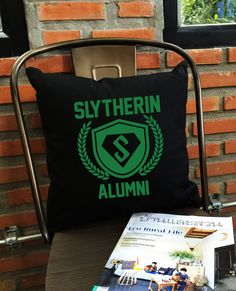 Slytherin Alumni throw pillow cover potter by Lessssismoreee