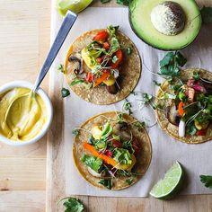 Mushroom tacos with roasted kabocha cheese, pico de gallo, radish and shredded butter lettuce. The…