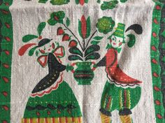 PENNSYLVANIA Dutch Linen Kitchen Cloth Tea Towel Folk Couple Rooster Hearts Fruit Basket by BROCANTEBedStuy on Etsy