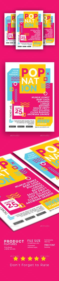 Pop Music Concert - #Events #Flyers Download here: https://graphicriver.net/item/pop-music-concert/19594777?ref=alena994