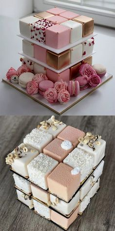 A base of these (if they're like mini cakes not petit fours). Then a square … A base of these (if they're like mini cakes not petit fours). Then a square layer on top to cut. Beautiful Wedding Cakes, Beautiful Cakes, Amazing Cakes, Pretty Cakes, Cute Cakes, Fancy Cakes, Crazy Cakes, Sweet Cakes, Mini Cakes