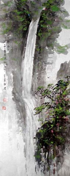 (North Korea) Nine dragon Falls in Mt Geumgang by Kim Sang-jik. 구룡폭포.