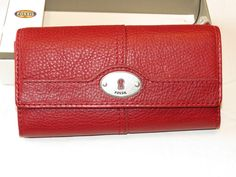 Fossil SL3291615 Marlow Flap Clutch Ruby Wine Multi Leather Wallet NWT^^ #Fossil #Clutch