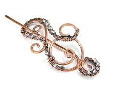 Copper Shawl Pin, Wire Wrapped Steampunk Design Antiqued Copper Scarf Pin, Copper Brooch - Made In USA Item 003
