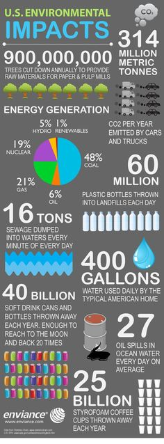 Have you ever wondered what 25 billion styrofoam cups looks like? What about 314 million metric tons of carbon dioxide? Check out this infographic for a sobering look at the environmental impact of carbon emissions, pollution and waste in the United State