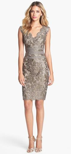 Embellished metallic sheath dress