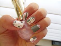 pink, gray, and white nails in polka dots, stripes, plaid, half-moon, and checkers