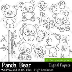 Panda Bear Digital Stamps Clipart by pixelpaperprints on Etsy, $5.00
