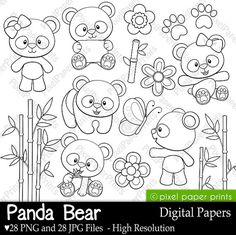 Panda Bear - Digital Stamps - Clipart