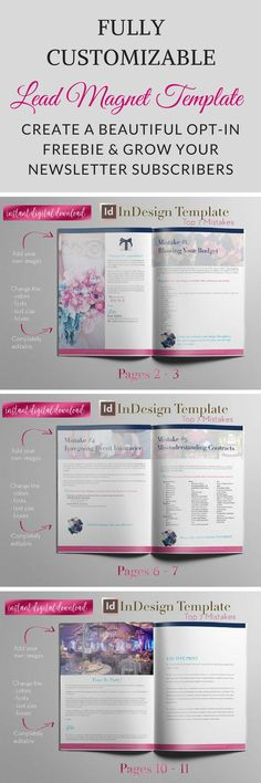 Easily create a beautiful opt-in freebie for your business & grow your email list. Our Lead Magnet template is perfect for bloggers, coaches, wedding planners and other small businesses.