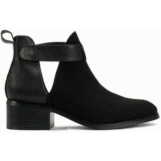 Nly Shoes Cut Out Ankle Strap Boot ($65) ❤ liked on Polyvore featuring shoes, boots, ankle booties, black, everyday shoes, womens-fashion, cut-out booties, leather cut out booties, mid heel booties and black leather booties