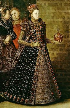 1569_ Detail: Elizabeth I and the Three Goddesses.  Artist: Variously attributed to Joris Hoefnagel and Hans Eworth.    The Royal Collection.