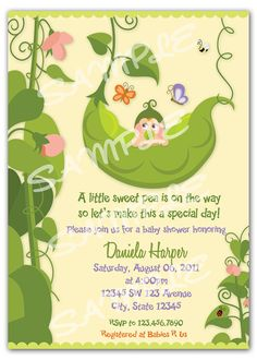 Pea in a Pod Invitation  Two Peas in a Pod by artisacreations, $12.00