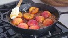 Allison Roman shows us how to make Peaches in Caramelized Honey with Toasted Oats and Ice Cream.