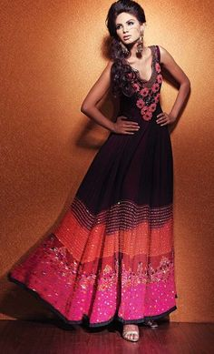 Formal Pink Orange Long Anarkali