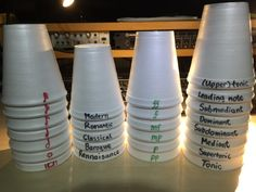 Cup Stacking in Sequence - Fun Group Lesson Relay Race to Stack them up or Scatter Cups for Minute to Win it in Private Lessons. Treble lines, dynamics, tempo, rhythm, build a triad Piano Lessons, Music Lessons, Tempo Music, Middle School Music, Teacher Helper, Music Activities, Music Games, Piano Games, Music Theory Games