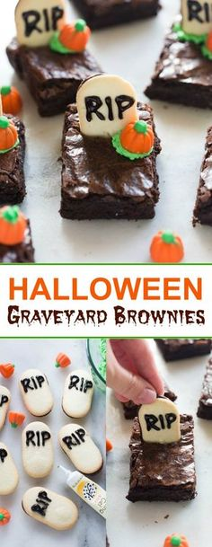 Halloween graveyard brownies are the perfect fun and easy Halloween treat for a party!  | tastesbetterfromscratch.com
