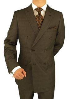 Presidential Suit Italian Modern Fit Double Breasted Windowpane BrownPresidential suit. This suit is exclusively hand finished by the most excellent craftsmen at lowest online price. Please choose the size you normally wear in designer Men's suits. JACKET: Beautiful double breasted 3 pockets outside 2 with flaps, peak lapel, 4-button vented sleeves, matching inside full lining, dual side vents. PANTS: Single pleated pants, lined to just below kne...