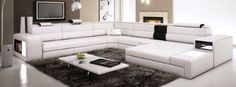 Polaris  White Contemporary Leather Sectional Sofa ** Check out this great product.