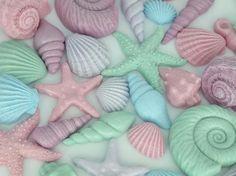 Mermaid Edible Fondant Shells   Cupcake Cake Toppers